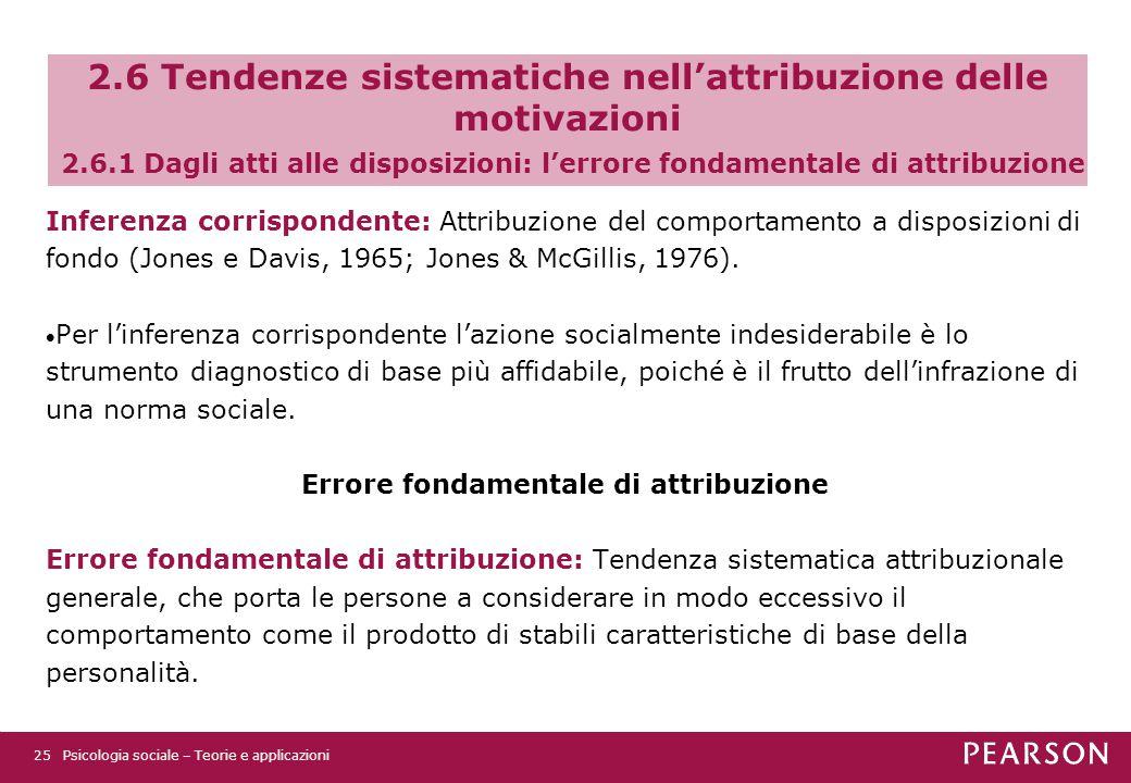 2.6 Tendenze sistematiche nell'attribuzione delle motivazioni 2.6.1 Dagli atti alle disposizioni: l'errore fondamentale di attribuzione Inferenza corrispondente: Attribuzione del comportamento a disposizioni di fondo (Jones e Davis, 1965; Jones & McGillis, 1976).