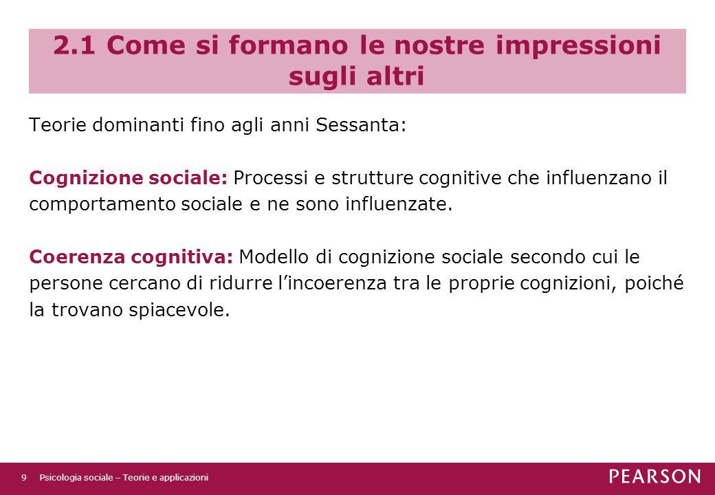 2.1 Come si formano le nostre impressioni sugli altri Teorie dominanti fino agli anni Sessanta: Cognizione sociale: Processi e strutture cognitive che influenzano il comportamento sociale e ne sono influenzate.