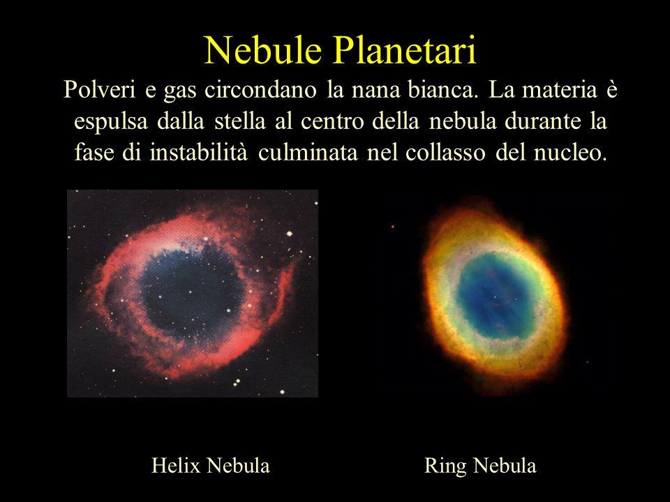 Nebule Planetari Polveri e gas circondano la nana bianca. La materia è espulsa dalla stella al centro della nebula durante la fase di instabilità culm