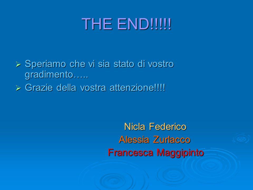 THE END!!!!!  Speriamo che vi sia stato di vostro gradimento…..  Grazie della vostra attenzione!!!! Nicla Federico Nicla Federico Alessia Zurlacco A
