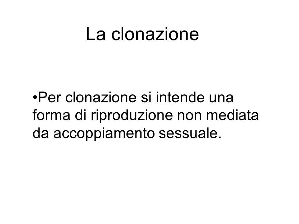 Per clonazione si intende una forma di riproduzione non mediata da accoppiamento sessuale. La clonazione