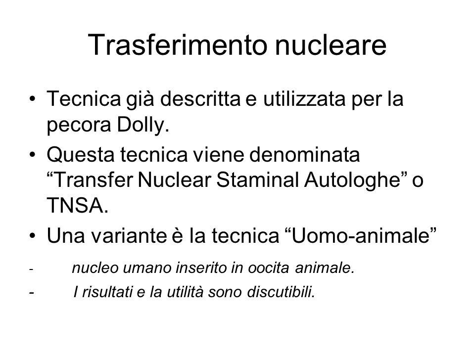 """Trasferimento nucleare Tecnica già descritta e utilizzata per la pecora Dolly. Questa tecnica viene denominata """"Transfer Nuclear Staminal Autologhe"""" o"""