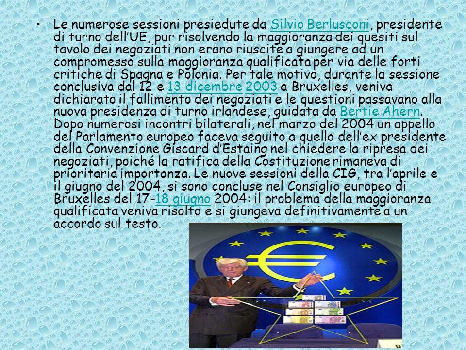 Le numerose sessioni presiedute da Silvio Berlusconi, presidente di turno dell'UE, pur risolvendo la maggioranza dei quesiti sul tavolo dei negoziati non erano riuscite a giungere ad un compromesso sulla maggioranza qualificata per via delle forti critiche di Spagna e Polonia.