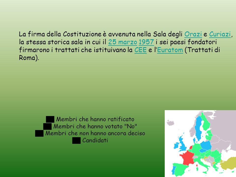 ██ Membri che hanno ratificato ██ Membri che hanno votato No ██ Membri che non hanno ancora deciso ██ Candidati La firma della Costituzione è avvenuta nella Sala degli Orazi e Curiazi, la stessa storica sala in cui il 25 marzo 1957 i sei paesi fondatori firmarono i trattati che istituivano la CEE e l'Euratom (Trattati di Roma).OraziCuriazi25 marzo1957CEEEuratom