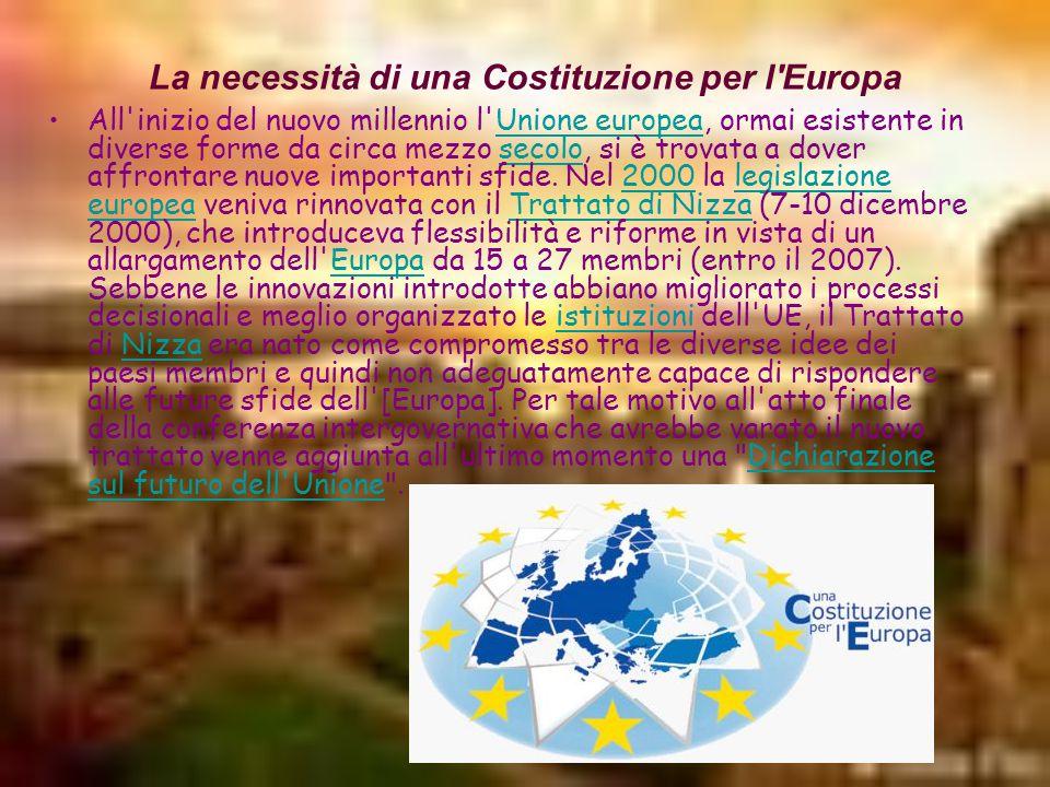 La necessità di una Costituzione per l Europa All inizio del nuovo millennio l Unione europea, ormai esistente in diverse forme da circa mezzo secolo, si è trovata a dover affrontare nuove importanti sfide.