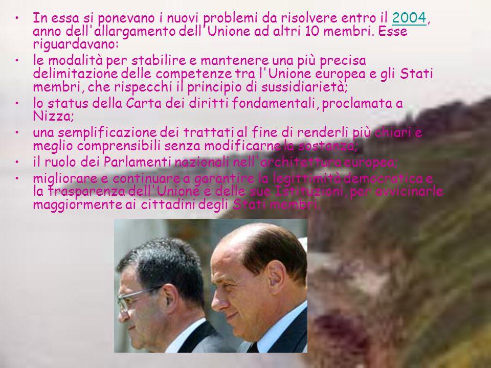 In essa si ponevano i nuovi problemi da risolvere entro il 2004, anno dell allargamento dell Unione ad altri 10 membri.