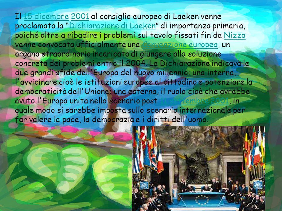 Il 15 dicembre 2001 al consiglio europeo di Laeken venne proclamata la Dichiarazione di Laeken di importanza primaria, poiché oltre a ribadire i problemi sul tavolo fissati fin da Nizza venne convocata ufficialmente una Convenzione europea, un organo straordinario incaricato di giungere alla soluzione concreta dei problemi entro il 2004.