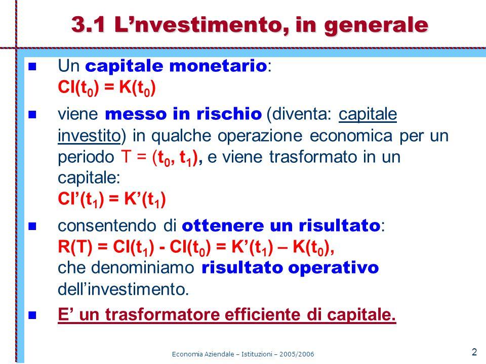 Economia Aziendale – Istituzioni – 2005/2006 3 Per valutare la performance dell'investimento si può calcolare il rendimento : ROI = R(T) / CI(t 0 ) L'investimento quale trasformatore può essere rappresentato con il modello: Il rendimento dell'investimento Processi che producono rischio CI(t 0 )=K(t 0 ) ROI R(T) CI(t 1 )=K'(t 1 )