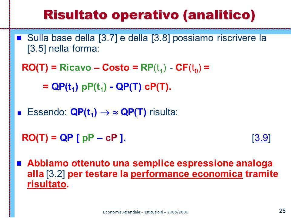 Economia Aziendale – Istituzioni – 2005/2006 25 Sulla base della [3.7] e della [3.8] possiamo riscrivere la [3.5] nella forma: RO(T) = Ricavo – Costo