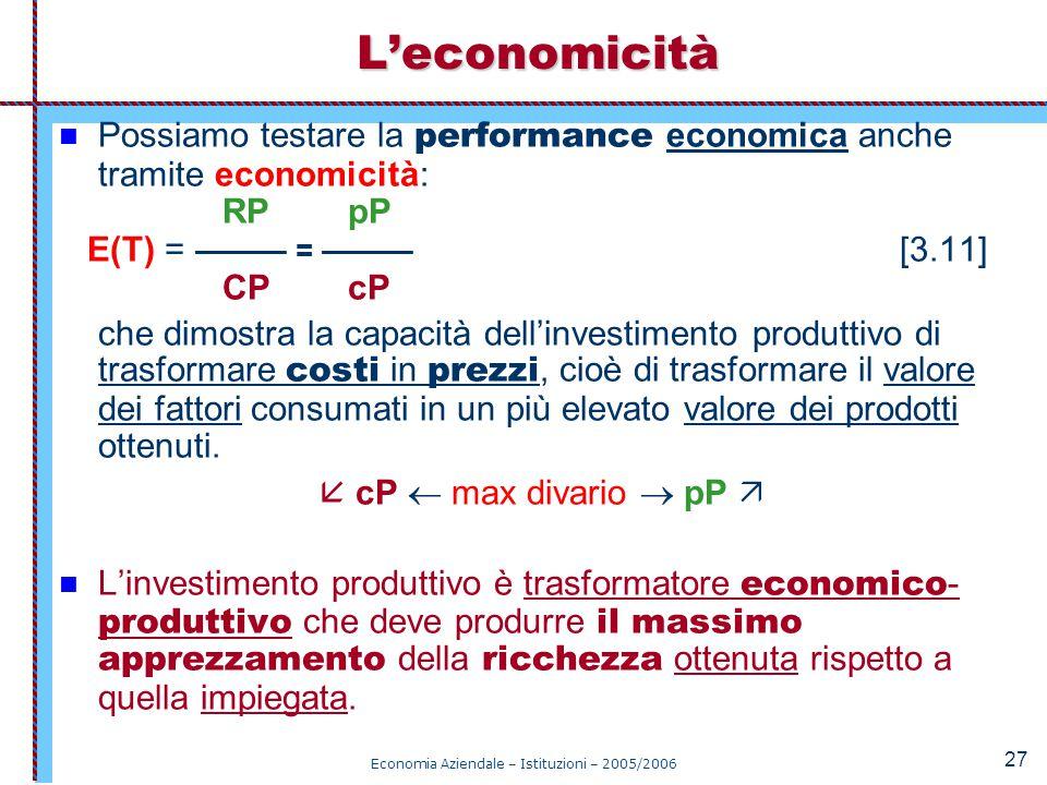 Economia Aziendale – Istituzioni – 2005/2006 27 Possiamo testare la performance economica anche tramite economicità: RP pP E(T) = ——— = ——— [3.11] CP