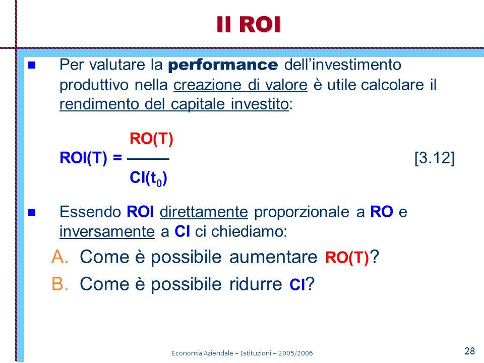 Economia Aziendale – Istituzioni – 2005/2006 28 Per valutare la performance dell'investimento produttivo nella creazione di valore è utile calcolare i