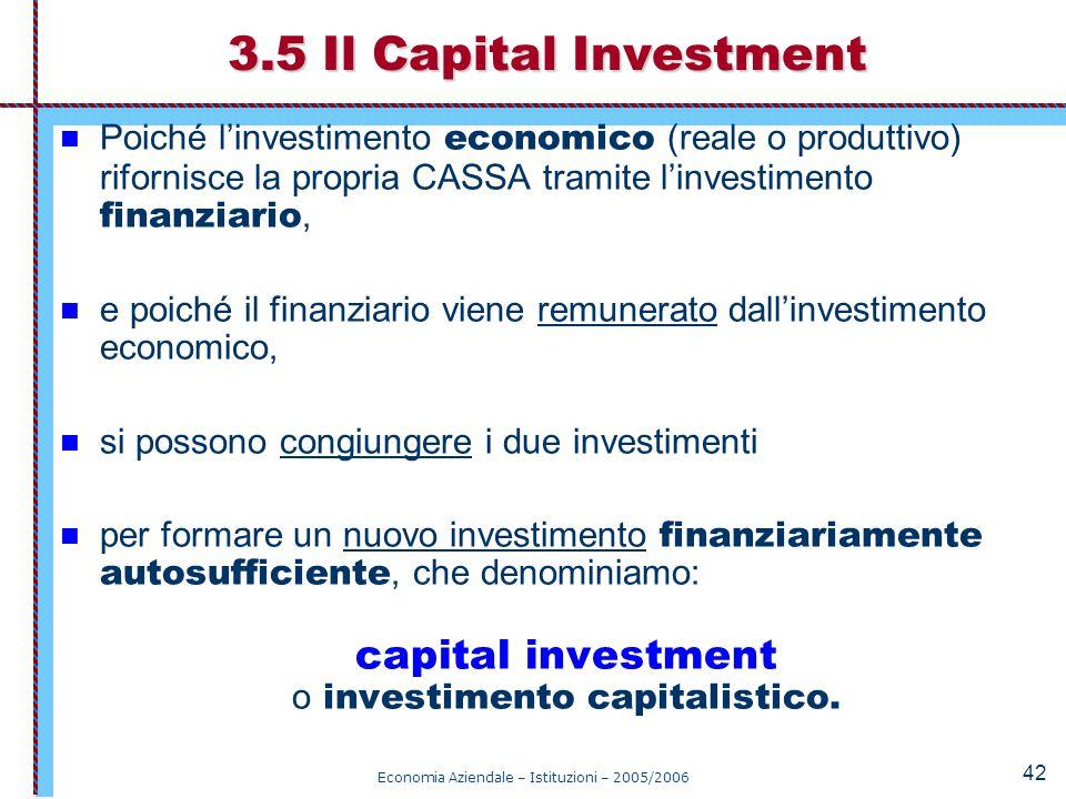 Economia Aziendale – Istituzioni – 2005/2006 42 Poiché l'investimento economico (reale o produttivo) rifornisce la propria CASSA tramite l'investiment