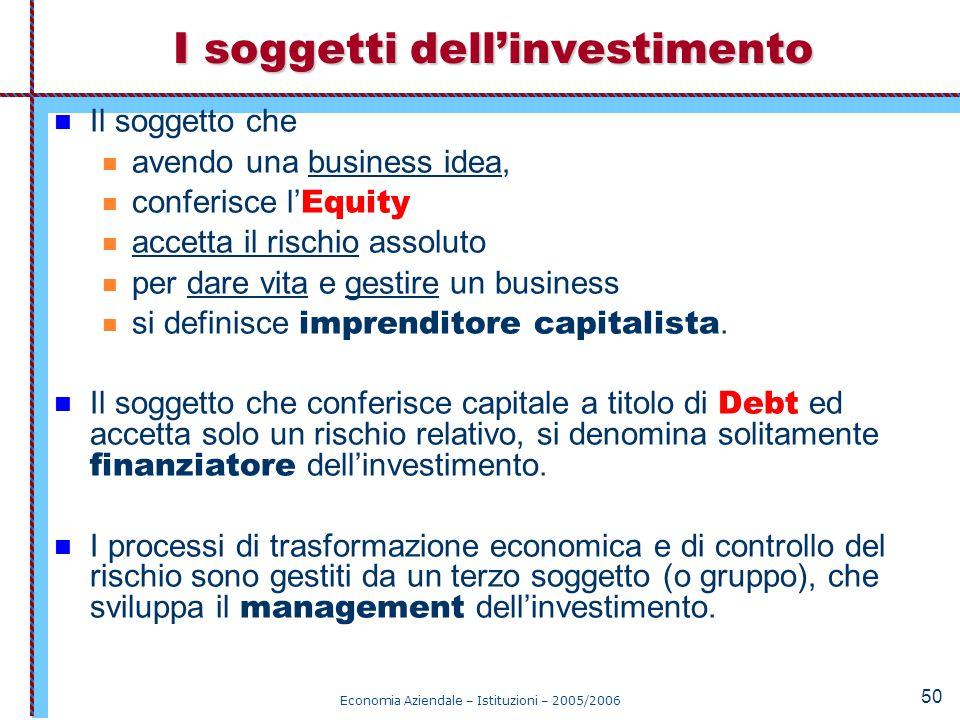 Economia Aziendale – Istituzioni – 2005/2006 50 Il soggetto che avendo una business idea, conferisce l' Equity accetta il rischio assoluto per dare vi