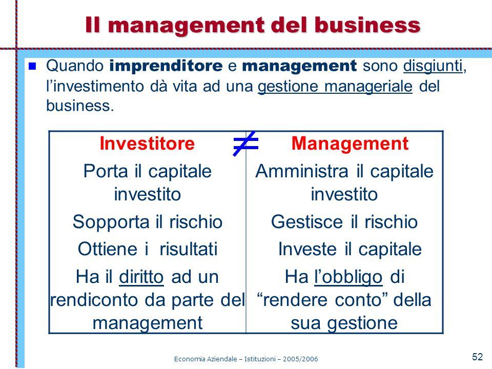 Economia Aziendale – Istituzioni – 2005/2006 52 Quando imprenditore e management sono disgiunti, l'investimento dà vita ad una gestione manageriale de