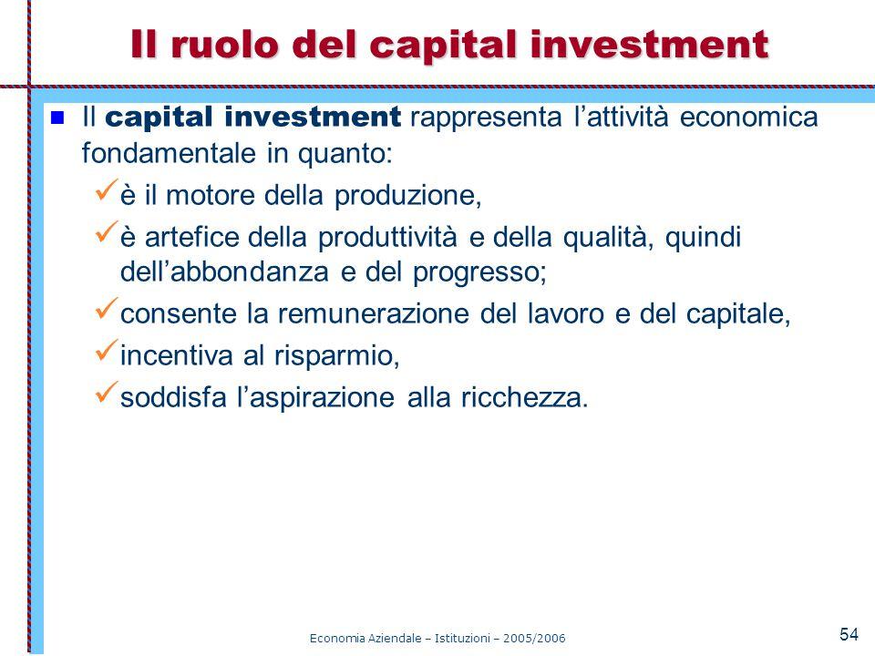 Economia Aziendale – Istituzioni – 2005/2006 54 Il capital investment rappresenta l'attività economica fondamentale in quanto: è il motore della produ