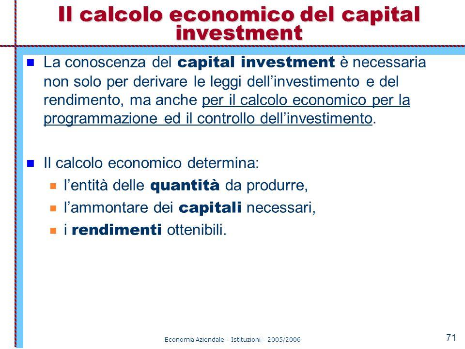Economia Aziendale – Istituzioni – 2005/2006 71 La conoscenza del capital investment è necessaria non solo per derivare le leggi dell'investimento e d
