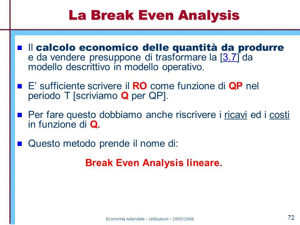 Economia Aziendale – Istituzioni – 2005/2006 72 Il calcolo economico delle quantità da produrre e da vendere presuppone di trasformare la [3.7] da mod