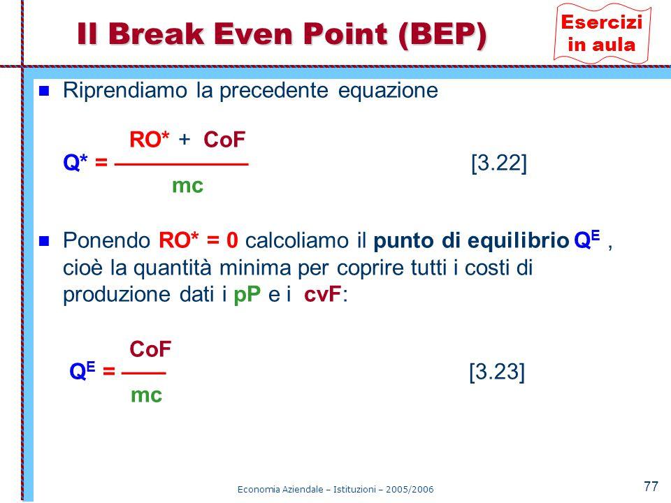 Economia Aziendale – Istituzioni – 2005/2006 77 Riprendiamo la precedente equazione RO* + CoF Q* = —————— [3.22] mc Ponendo RO* = 0 calcoliamo il punt