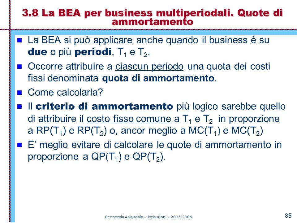 Economia Aziendale – Istituzioni – 2005/2006 85 La BEA si può applicare anche quando il business è su due o più periodi, T 1 e T 2. Occorre attribuire
