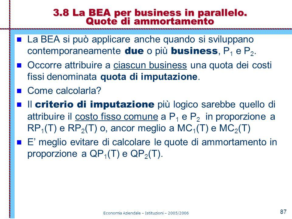 Economia Aziendale – Istituzioni – 2005/2006 87 La BEA si può applicare anche quando si sviluppano contemporaneamente due o più business, P 1 e P 2. O