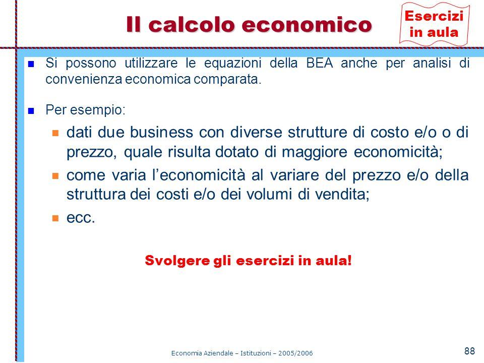 Economia Aziendale – Istituzioni – 2005/2006 88 Si possono utilizzare le equazioni della BEA anche per analisi di convenienza economica comparata. Per