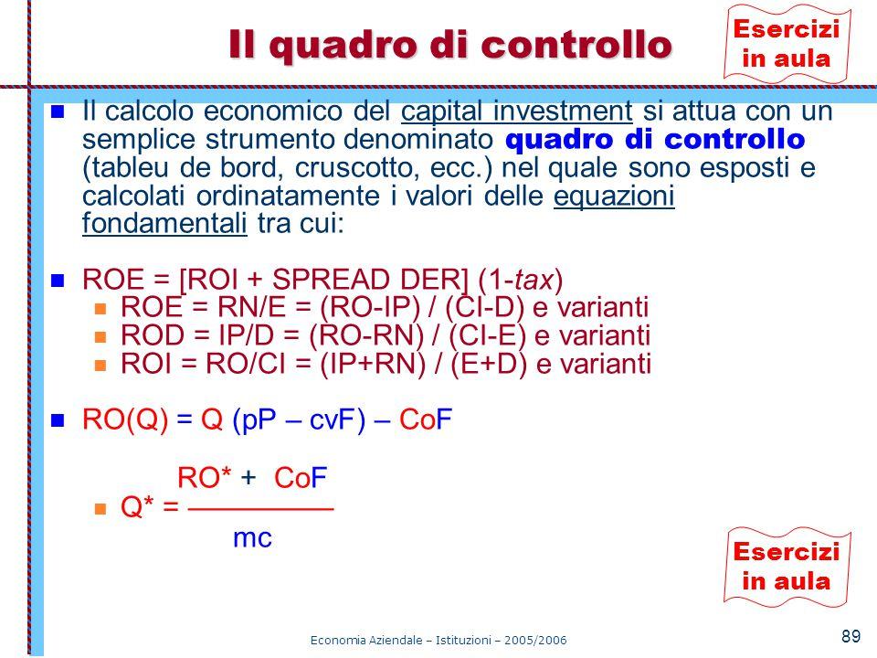 Economia Aziendale – Istituzioni – 2005/2006 89 Il calcolo economico del capital investment si attua con un semplice strumento denominato quadro di co