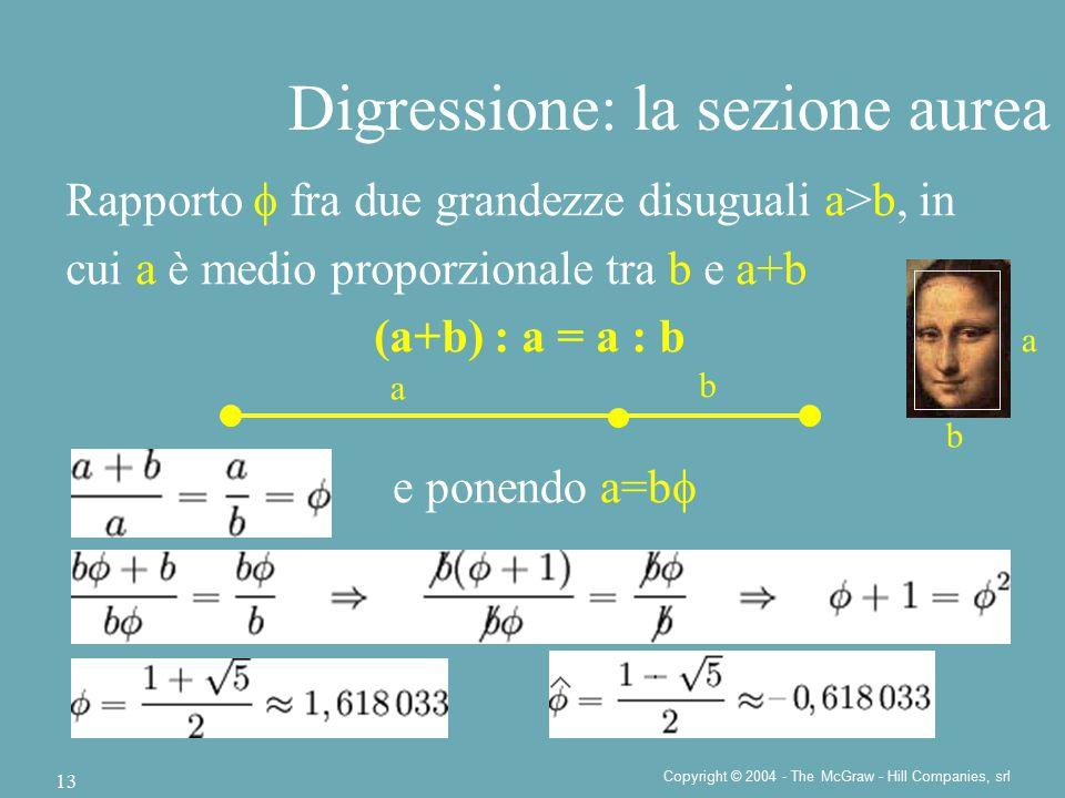 Copyright © 2004 - The McGraw - Hill Companies, srl 13 Digressione: la sezione aurea Rapporto  fra due grandezze disuguali a>b, in cui a è medio proporzionale tra b e a+b (a+b) : a = a : b a b e ponendo a=b  b a