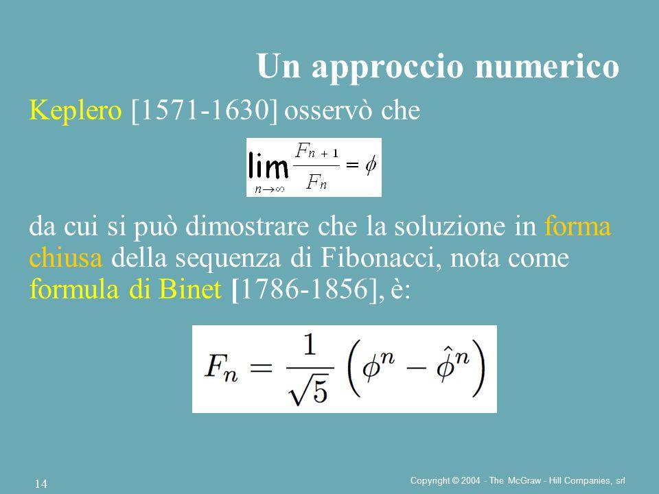 Copyright © 2004 - The McGraw - Hill Companies, srl 14 Keplero [1571-1630] osservò che da cui si può dimostrare che la soluzione in forma chiusa della sequenza di Fibonacci, nota come formula di Binet [1786-1856], è: Un approccio numerico