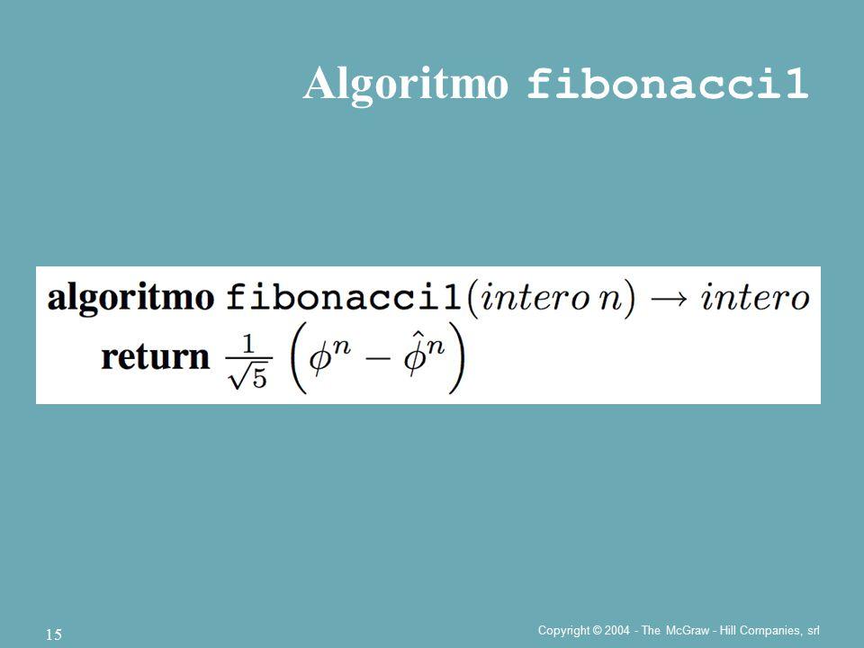 Copyright © 2004 - The McGraw - Hill Companies, srl 15 Algoritmo fibonacci1