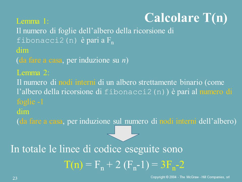 Copyright © 2004 - The McGraw - Hill Companies, srl 23 Calcolare T(n) In totale le linee di codice eseguite sono T(n) = F n + 2 (F n -1) = 3F n -2 Lem