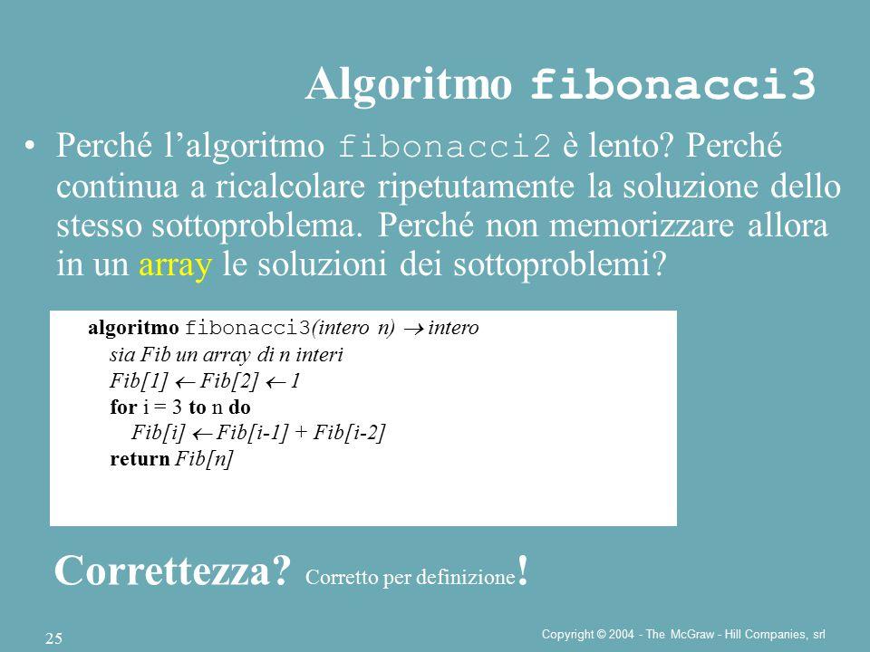 Copyright © 2004 - The McGraw - Hill Companies, srl 25 Perché l'algoritmo fibonacci2 è lento? Perché continua a ricalcolare ripetutamente la soluzione