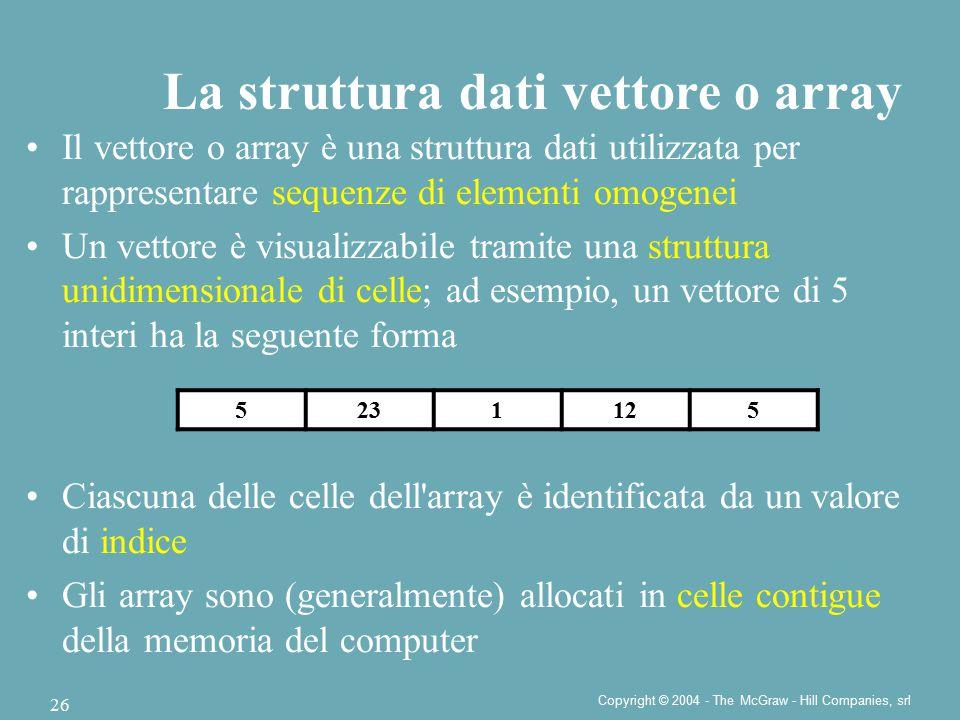 Copyright © 2004 - The McGraw - Hill Companies, srl 26 Il vettore o array è una struttura dati utilizzata per rappresentare sequenze di elementi omoge