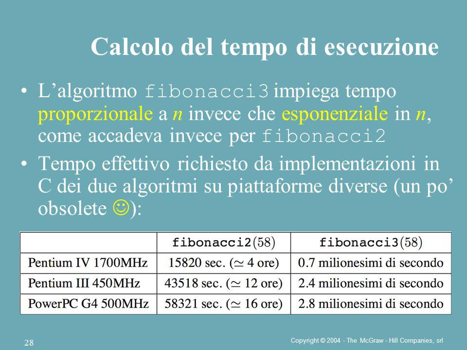 Copyright © 2004 - The McGraw - Hill Companies, srl 28 L'algoritmo fibonacci3 impiega tempo proporzionale a n invece che esponenziale in n, come accad