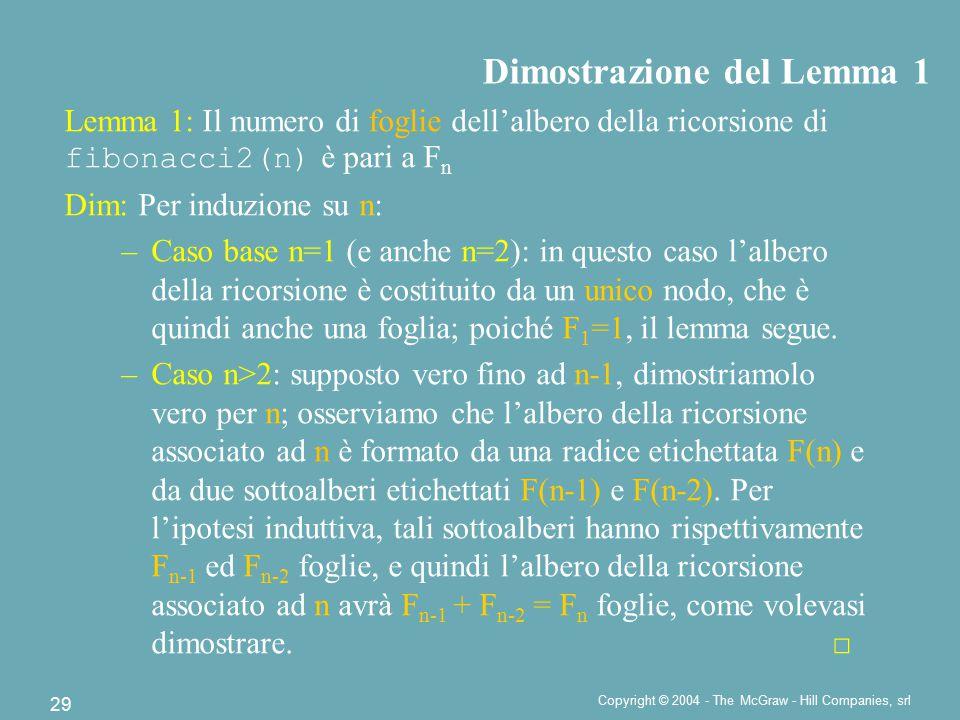 Copyright © 2004 - The McGraw - Hill Companies, srl 29 Dimostrazione del Lemma 1 Lemma 1: Il numero di foglie dell'albero della ricorsione di fibonacci2(n) è pari a F n Dim: Per induzione su n: –Caso base n=1 (e anche n=2): in questo caso l'albero della ricorsione è costituito da un unico nodo, che è quindi anche una foglia; poiché F 1 =1, il lemma segue.