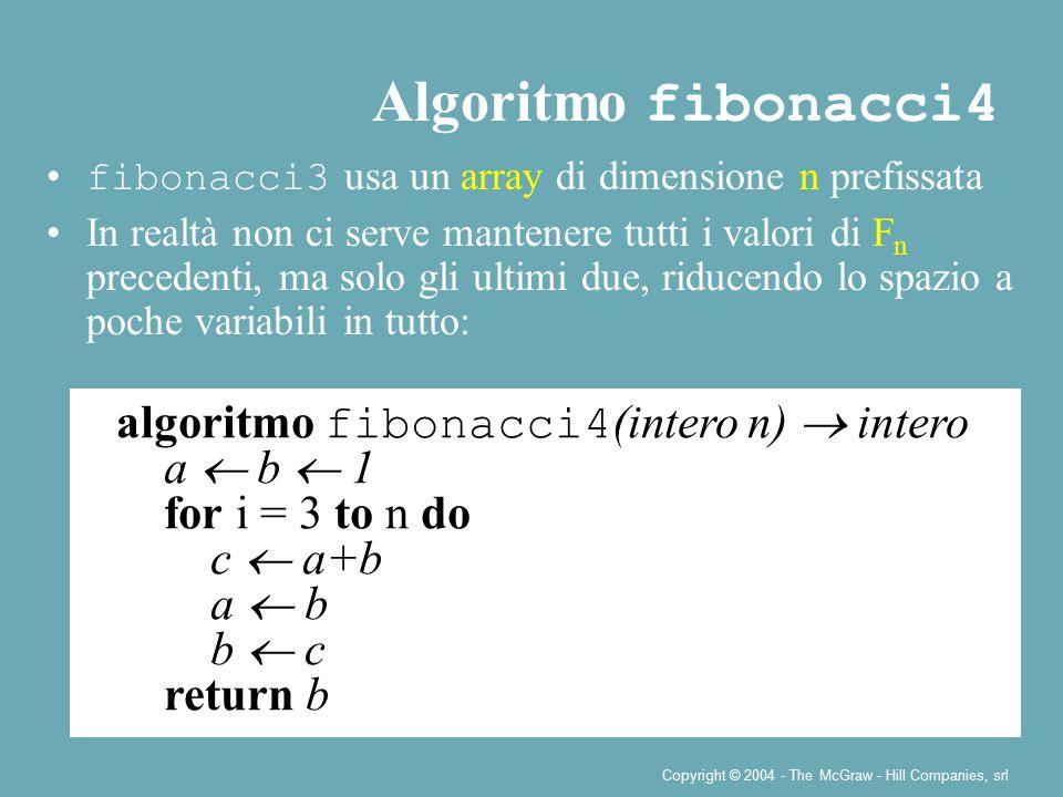 Copyright © 2004 - The McGraw - Hill Companies, srl fibonacci3 usa un array di dimensione n prefissata In realtà non ci serve mantenere tutti i valori