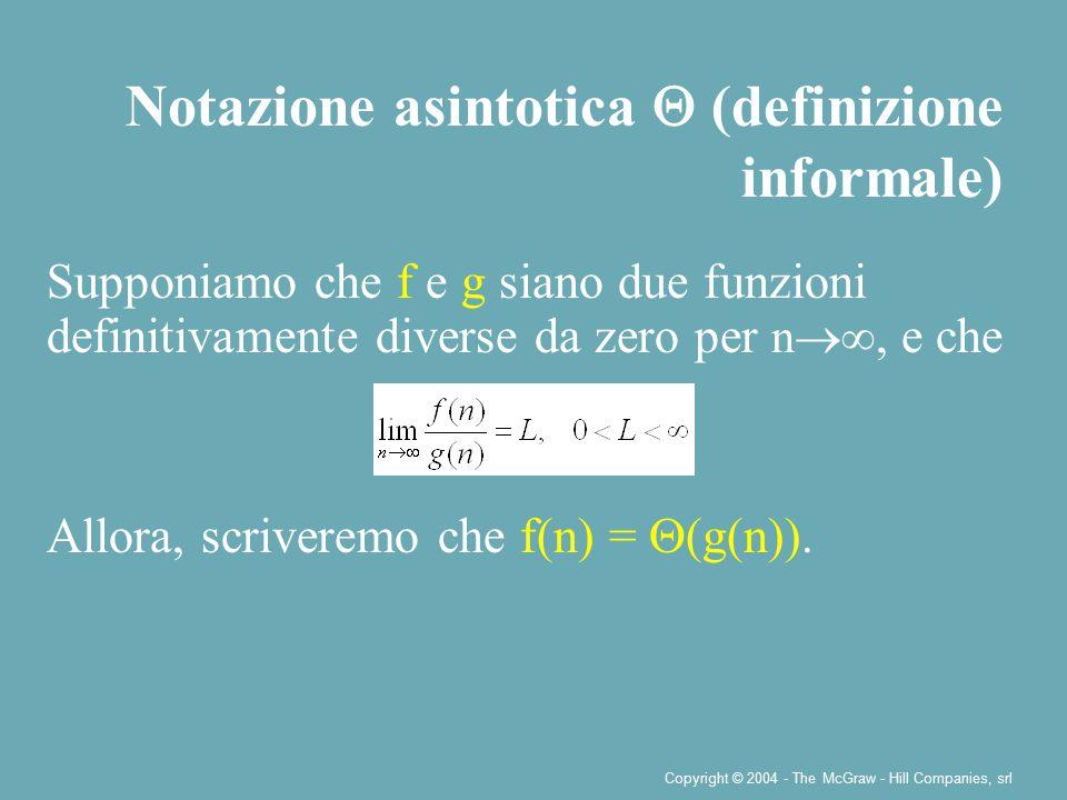 Copyright © 2004 - The McGraw - Hill Companies, srl Supponiamo che f e g siano due funzioni definitivamente diverse da zero per n  ∞, e che Allora, scriveremo che f(n) =  (g(n)).