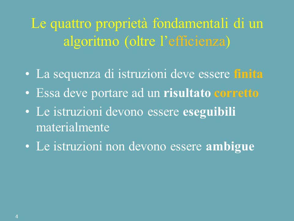Le quattro proprietà fondamentali di un algoritmo (oltre l'efficienza) La sequenza di istruzioni deve essere finita Essa deve portare ad un risultato corretto Le istruzioni devono essere eseguibili materialmente Le istruzioni non devono essere ambigue 4