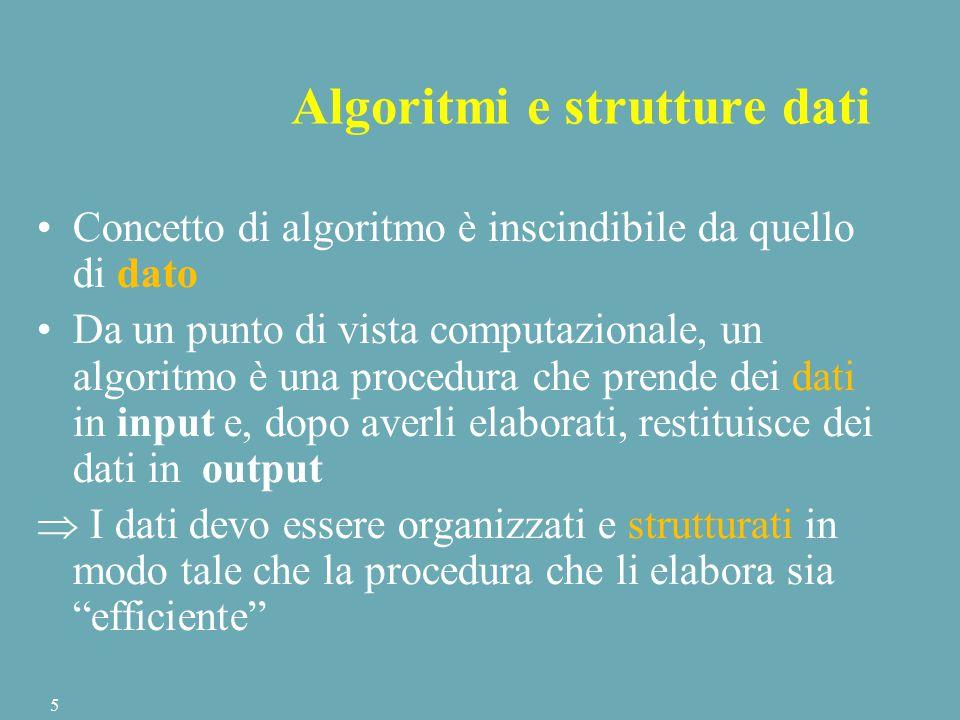 Algoritmi e strutture dati Concetto di algoritmo è inscindibile da quello di dato Da un punto di vista computazionale, un algoritmo è una procedura che prende dei dati in input e, dopo averli elaborati, restituisce dei dati in output  I dati devo essere organizzati e strutturati in modo tale che la procedura che li elabora sia efficiente 5
