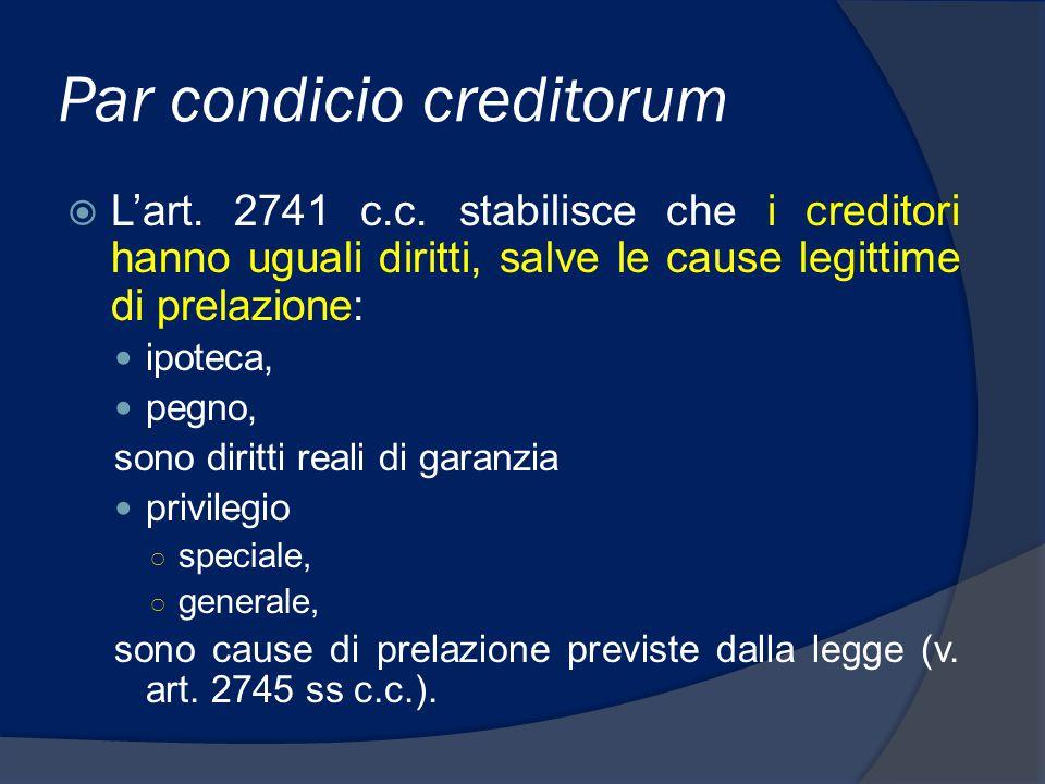Graduazione dei crediti 1.crediti prededucibili, 2.