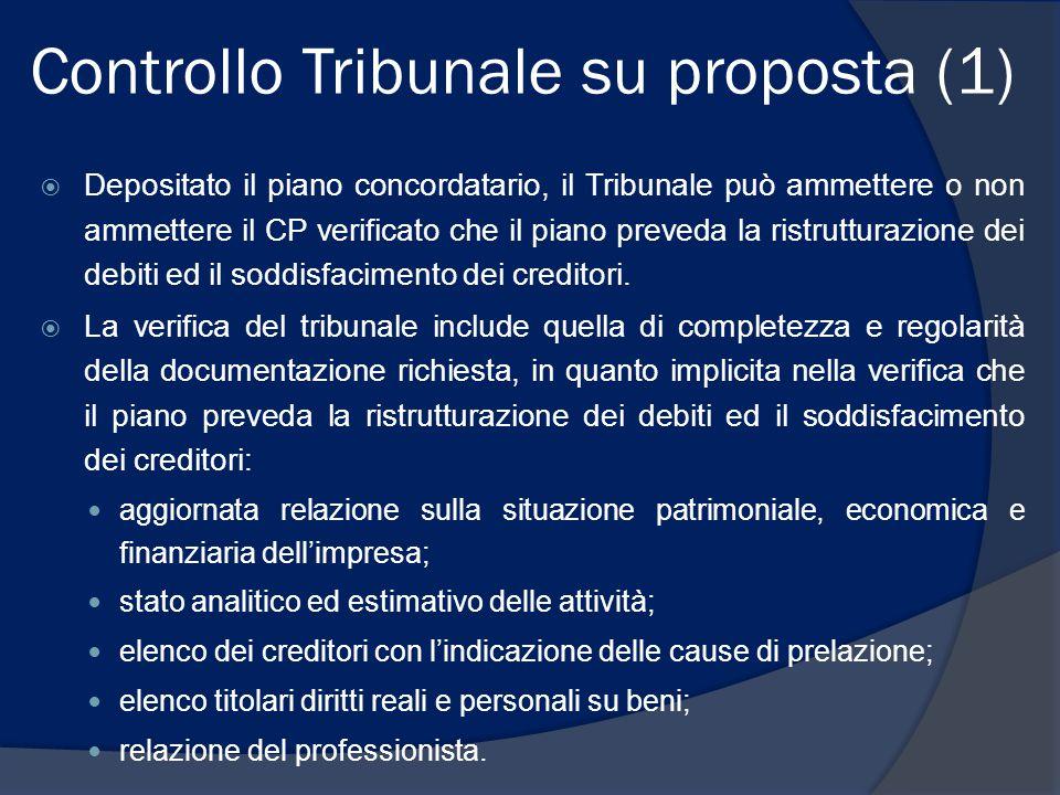 Controllo Tribunale su proposta (2)  È incerta la sindacabilità della correttezza dei criteri di formazione delle classi.