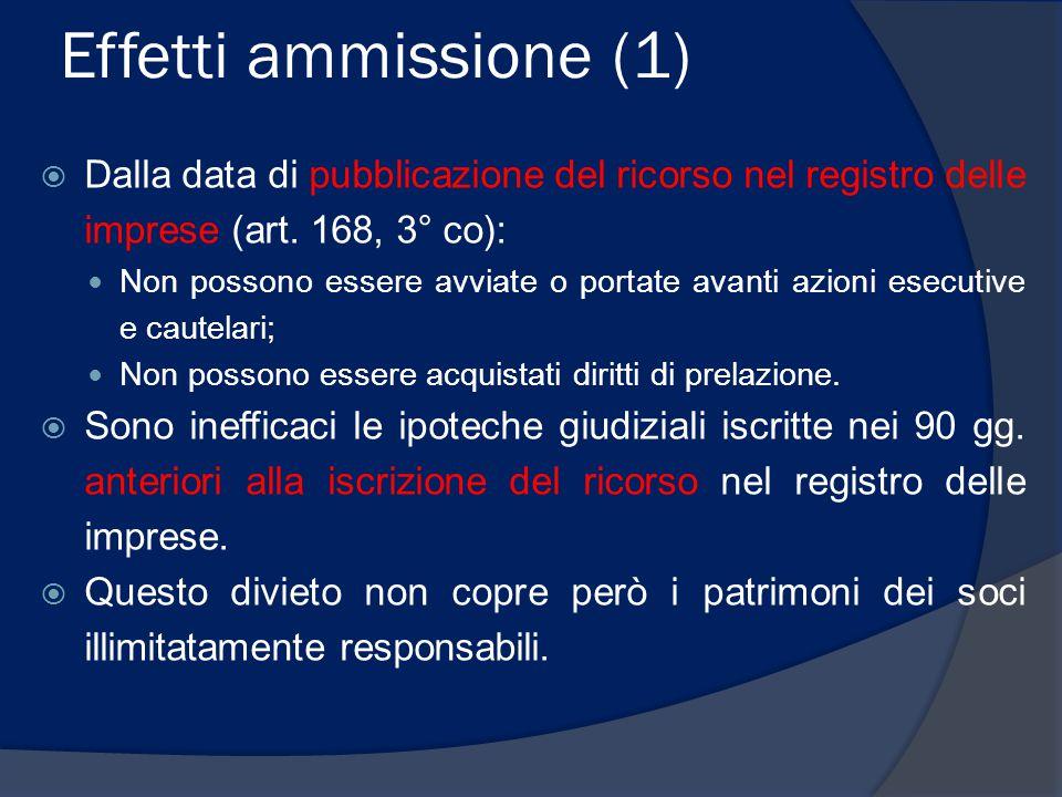 Effetti ammissione (2)  Durante la procedura (ossia dal decreto di ammissione) si attua lo spossessamento attenuato (art.