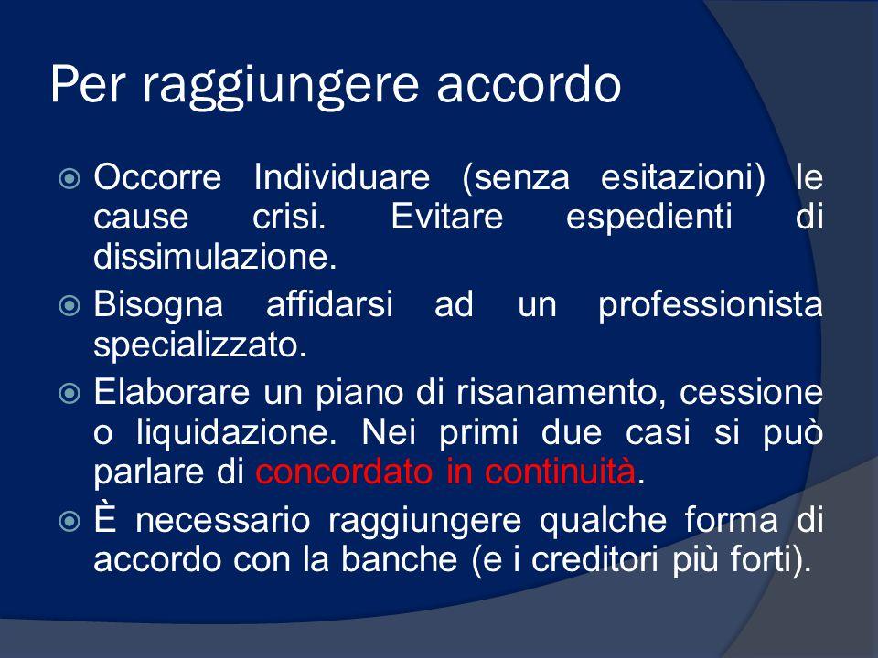 Accordo con banche  Nessuna gestione concordata della crisi è possibile senza l'accordo dei creditori bancari.