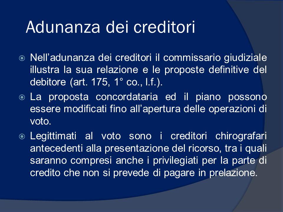 Creditori postergati  I creditori volontariamente postergatari sono chiamati a votare assieme ai chirografari nel concordato senza classi, nell'ambito di una classa in caso di suddivisione in classi.