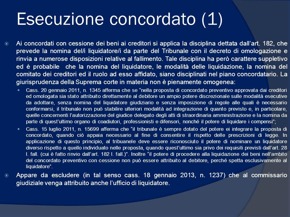 Esecuzione concordato (2)  Art.185, l.f.: il C.G.