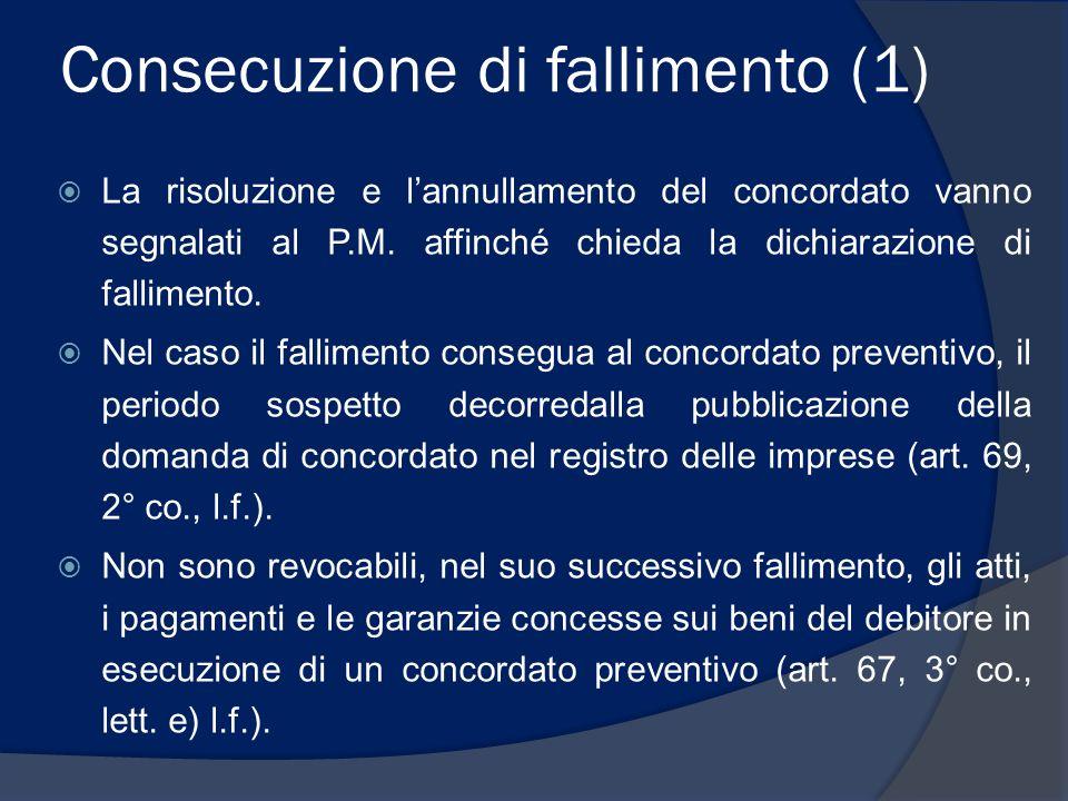 Consecuzione di fallimento (2)  Sono prededucibili nel successivo fallimento: I finanziamenti alla ristrutturazione, ossia quelli in qualsiasi forma effettuati in esecuzione del concordato e, quindi, in conformità al piano concordatario, ma non nel corso delle procedura, bensì nella successiva fase di esecuzione del concordato (art.