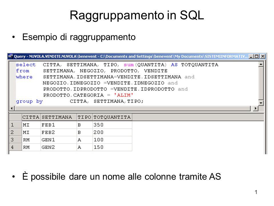 1 Raggruppamento in SQL Esempio di raggruppamento È possibile dare un nome alle colonne tramite AS