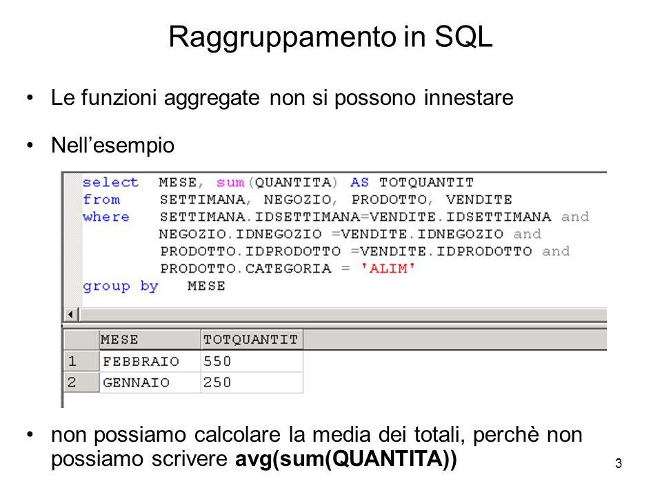 3 Le funzioni aggregate non si possono innestare Nell'esempio non possiamo calcolare la media dei totali, perchè non possiamo scrivere avg(sum(QUANTIT