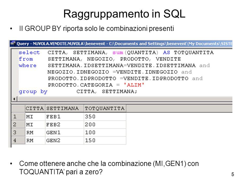 6 Raggruppamento in SQL Opzione ALL nella clausola GROUP BY : GROUP BY ALL In questo modo ottengo tutte le possibili combinazioni, quindi anche (MI,GEN1), ma con TOQUANTITA' pari a NULL in quanto una funzione aggregata applicata ad un insieme vuoto restituisce NULL.