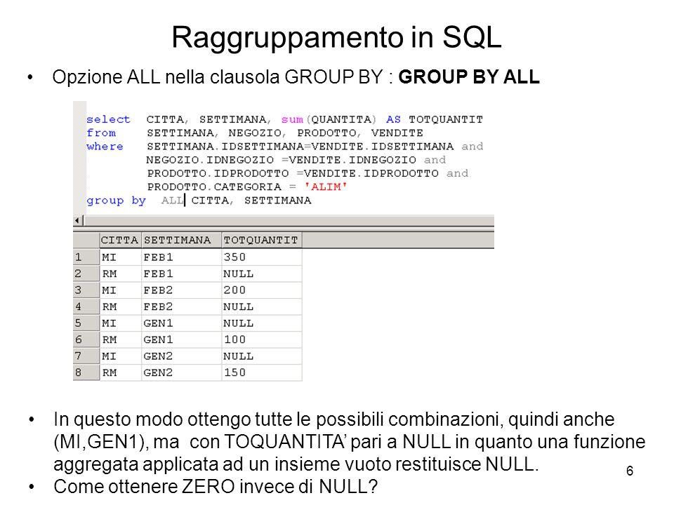 6 Raggruppamento in SQL Opzione ALL nella clausola GROUP BY : GROUP BY ALL In questo modo ottengo tutte le possibili combinazioni, quindi anche (MI,GE