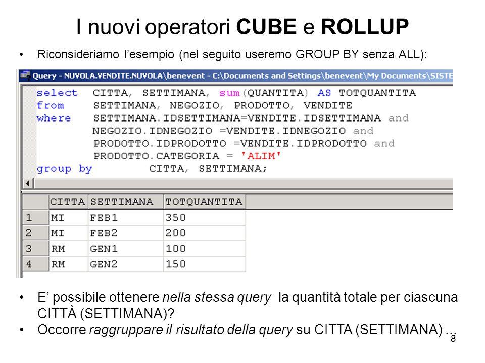 8 I nuovi operatori CUBE e ROLLUP Riconsideriamo l'esempio (nel seguito useremo GROUP BY senza ALL): E' possibile ottenere nella stessa query la quant